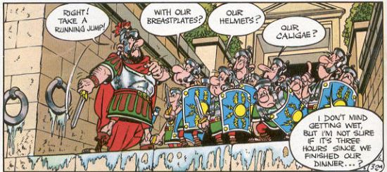 Cel from an Asterix comic book showing Roman soldiers